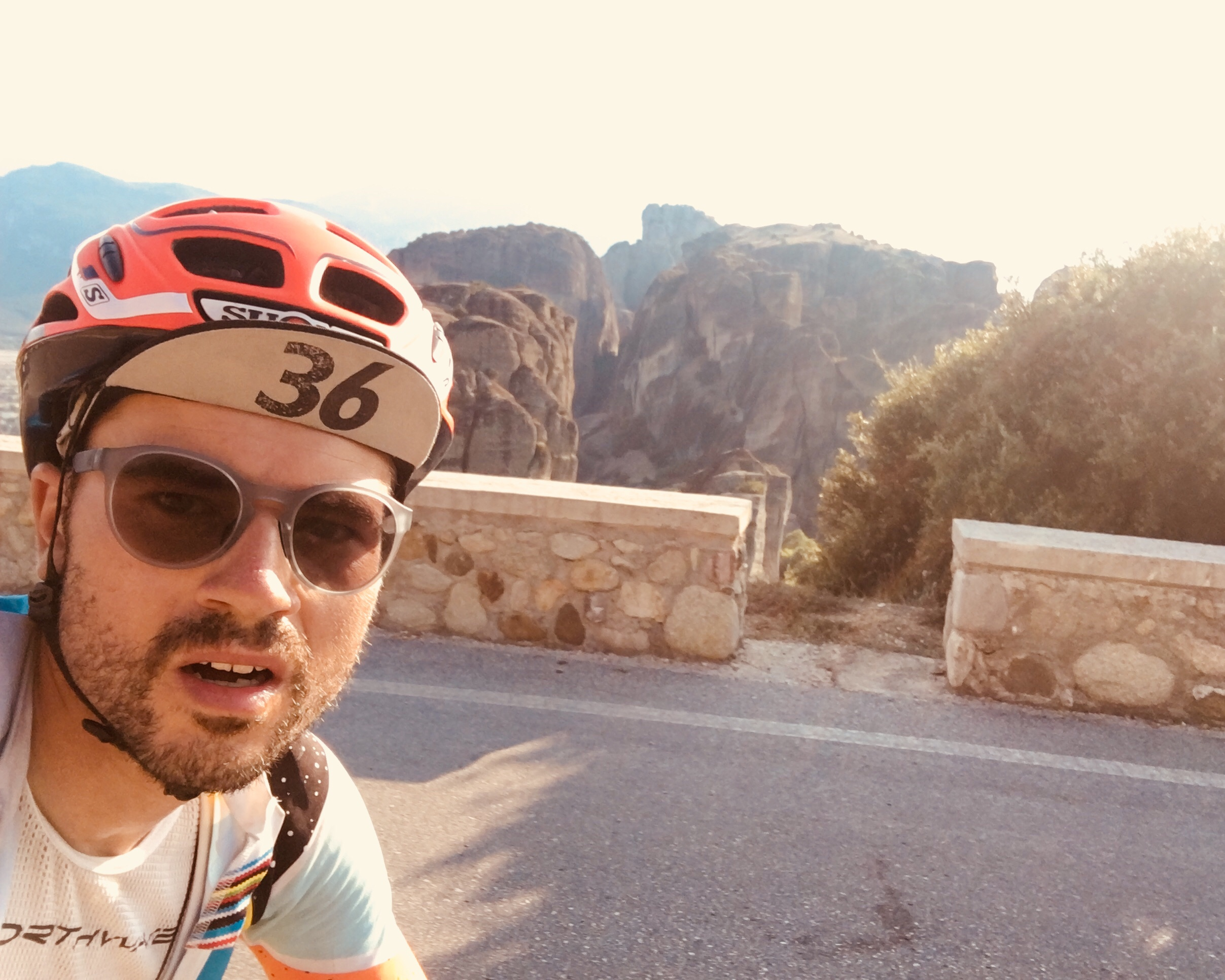 Selfie attempt on the final parcours down to Meteora